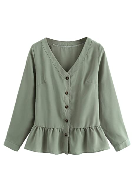 a03bb459 WDIRARA Women's Casual Ruffle Hem V-Neck Long Sleeve with Button Blouse Top  Light Green
