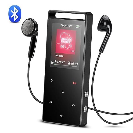 Bluetooth Reproductor Mp3, AGPTEK A01TG 8 GB Música Reproductor Mp3 de Metalico con Botones Táctiles y FM Radio, Color Gris Oscuro