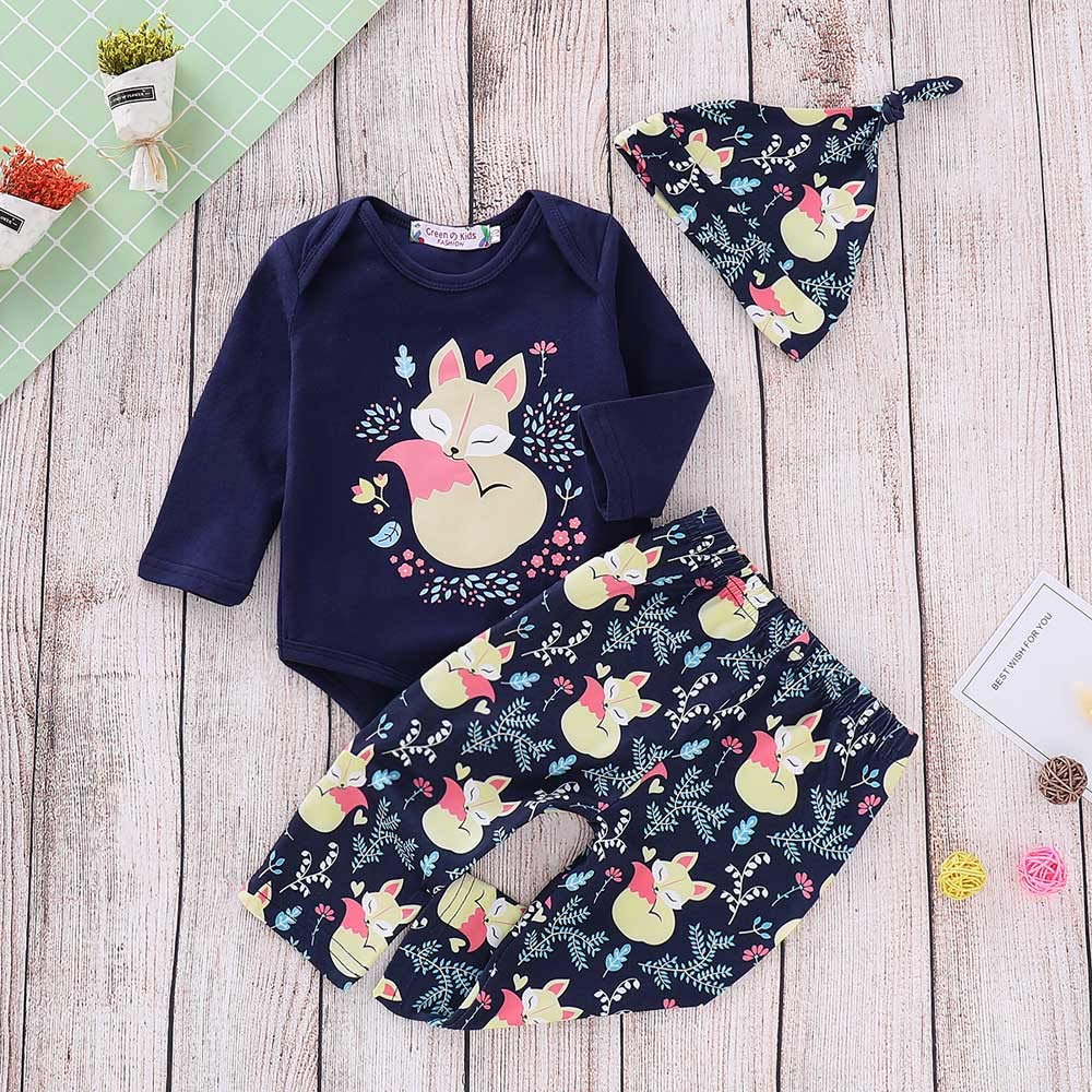 Onefa Infant Toddler Baby Boys Girls Outfits Set Floral Cartoon Fox Romper Pants Hat