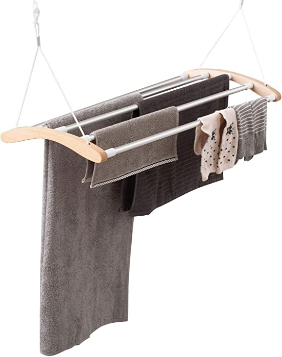 "INNOKA Extendable Ceiling Mounted Drying Rack, Luxury Birch Wood with 5 Strong Aluminum Bars [Space Saving] Clothes Laundry Dryer Hanger with Smart Pulley System, Extended up to 55"", Maximum Load 9KG"
