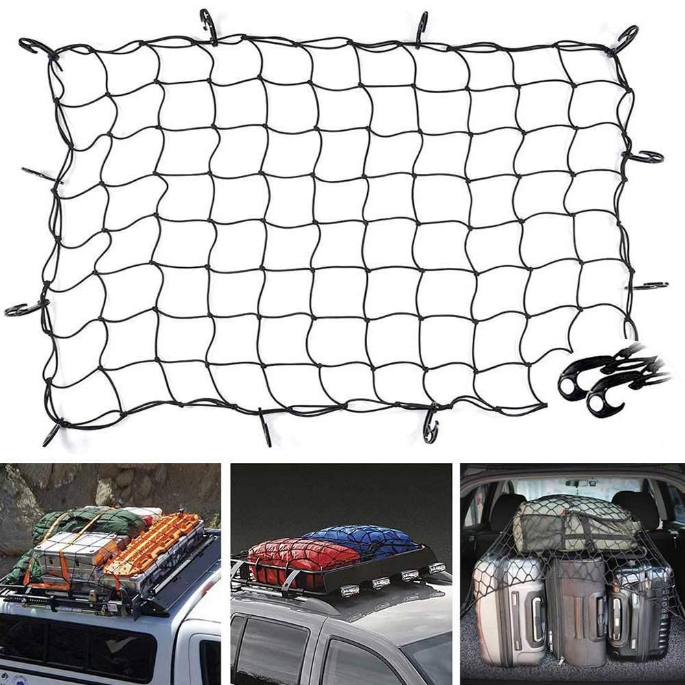 TOOGOO 47 Inch X 36 Inch Cargo Net Bungee Nets Stretches to 80 Inch X 60 Inch Mesh Holds More Than 200 Lbs Loads,16 Adjustable Hooks