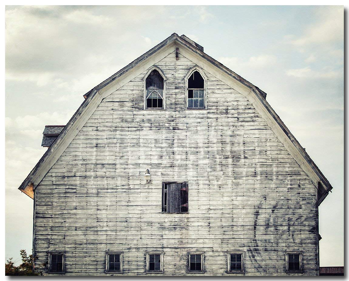 "Farmhouse Decor Barn Landscape in Blue, Grey White. Unframed 8x10"" Print."
