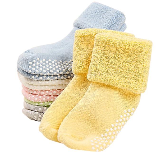 VWU Pack de 6 Pares Calcetines Bebé Unisexo Antideslizante Grueso Medias Niñito Algodón 1-3