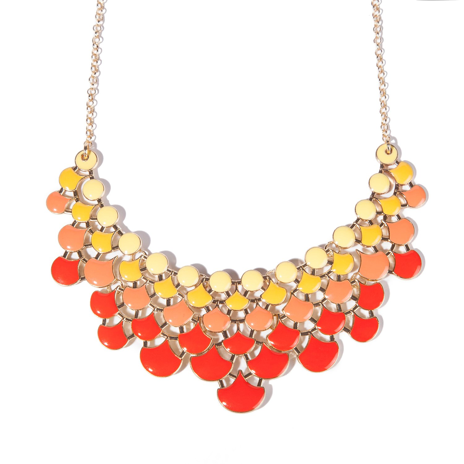 Jane Stone 2018 Fashion Bib Collar Necklace Multicolor Enamel Openwork Statement Jewelry for Women
