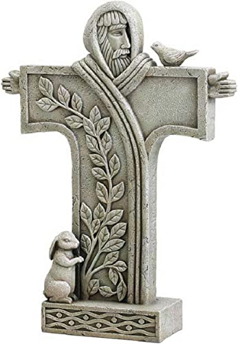 Saint Francis of Assisi Stone Resin Garden Cross Statue