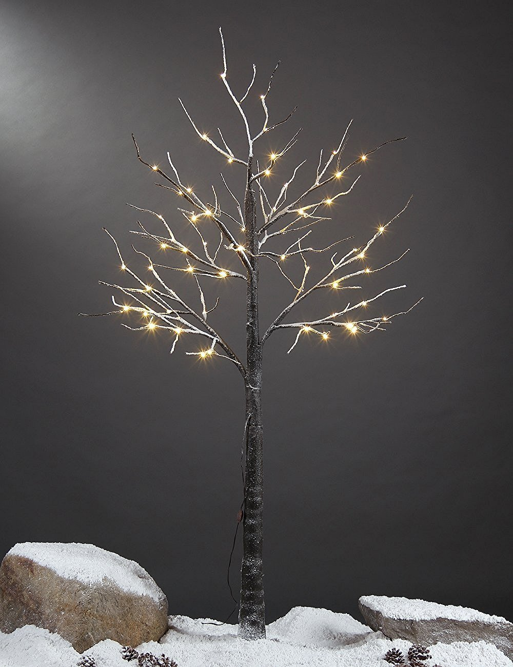 Lightshare 5 Feet Snow Dusted Tree, 72 LED Lights, Warm White, For Christmas Tree and Christmas Village Decoration, Decoration Idea for Home, Festival, and Party, Indoor and Outdoor Use LTS-PXS725FT