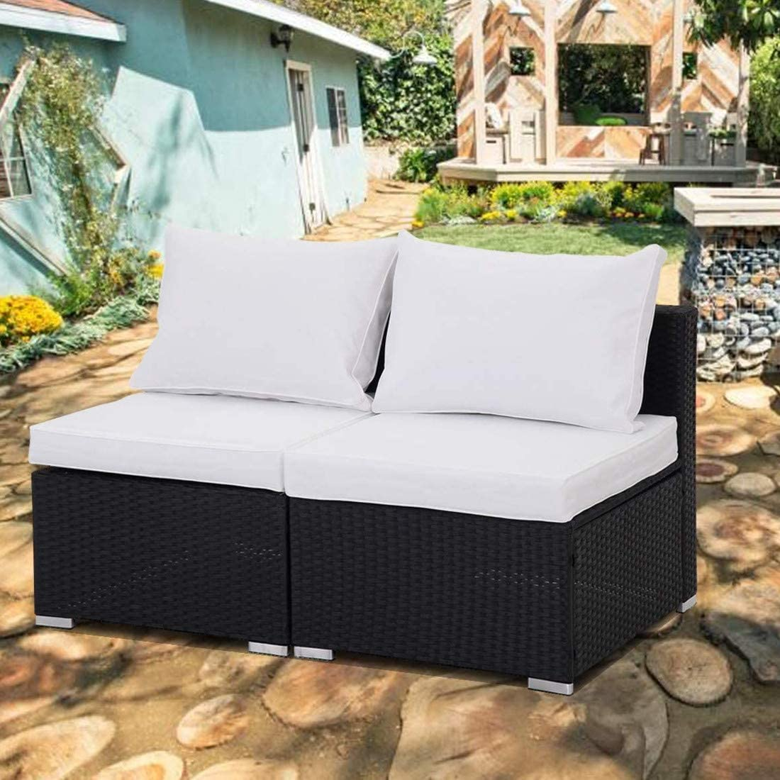 GREARDEN 2PCS PE Rattan Wicker Sofa Sets Patio Furniture Set Outdoor Sectional Coversation Sofa Set