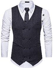 Cloudstyle Mens Vest Slim Fit Formal V-Neck Dress Vest Double-Breasted Business Vest