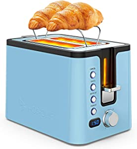 Toaster 2 Slice, Hosome Stainless Steel Bread Bagel Toaster Extra Wide Slots Toasters with Warming Rack, 6 Shade Settings, LED Display, Removable Crumb Tray, Bagel/Defrost/Reheat/Cancel Function, Blue