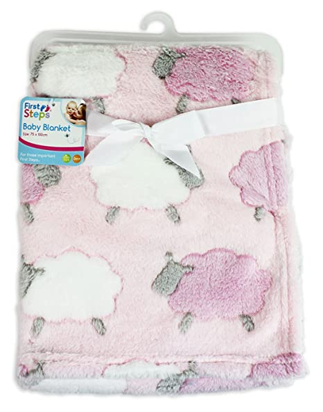 Newborn Baby First Steps Teddy Bear Soft Comforter Pink//Blue//Cream Blanket