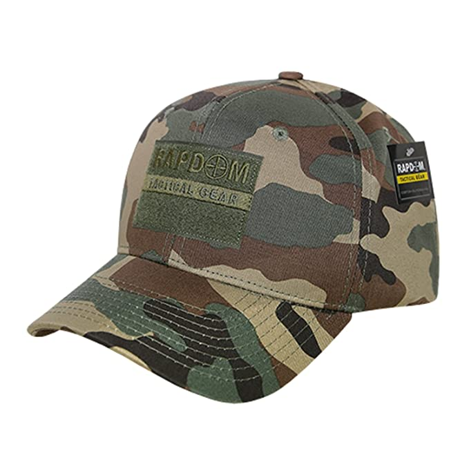 9531b66d07b5e Image Unavailable. Image not available for. Color  Woodland Camo Tactical  Operator Contractor Patch High Crown Structured Baseball Ball Cap Hat