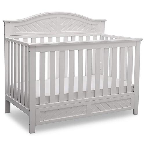 Delta Children Bennington Elite Curved 4-in-1 Convertible Crib, Bianca White