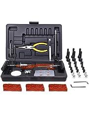 Réparation de Pneu 93pcs, TECCPO Professional Kit de Reparation avec Mèches pour Pneu, Automobile Outillage Mutifonction Crevaison avec une Valise Noire - THTC04H