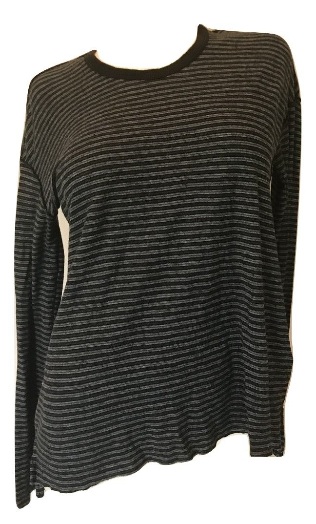 Standard James Perse Women's High Low LS Hem Striped Tee, Black, 2 (Medium) by COOL GUY STYLE
