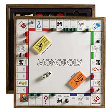 Monopoly Deluxe Vintage 5-in-1 Edition - Wooden Game Board with Chess, Checkers, Poker Dice, and Monoply Deal