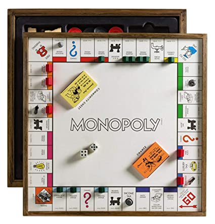 Monopoly Deluxe Vintage 5 In 1 Edition Wooden Game Board With Chess Checkers Poker Dice And Monoply Deal