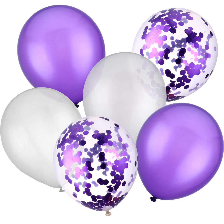 Jovitec 30 Pezzi 12 Pollici Palloncini in Lattice Palloncini di Coriandoli per Matrimonio Compleanno Festa Decorazione (Bianco e Viola)