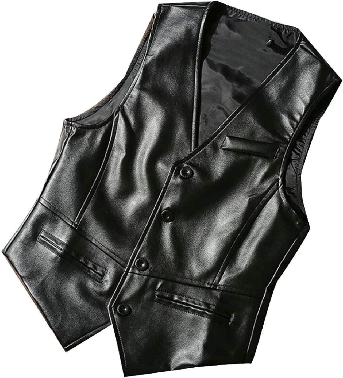 ZXFHZS Mens Western Cowboy Solid Slim Fit V-Neck Single Breasted Pu Leather Vest