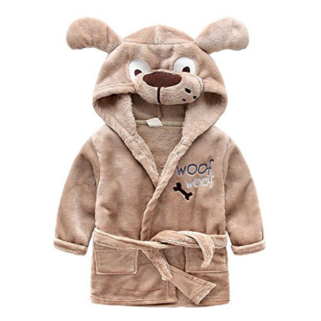 Toddler/kids Hooded Plush Robe Animal Fleece Bathrobe Children Pajamas Sleepwear (18 Month - 2T, Woof)