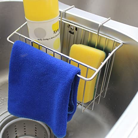 Kitchen Sink Caddy, Peleustech Stainless Steel Sink Hanging Storage Box  Draining Kitchen Soap Sponge Holder