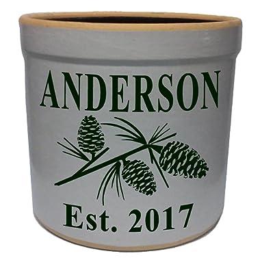 2 Gallon Personalized Stoneware Crock - Pinecone