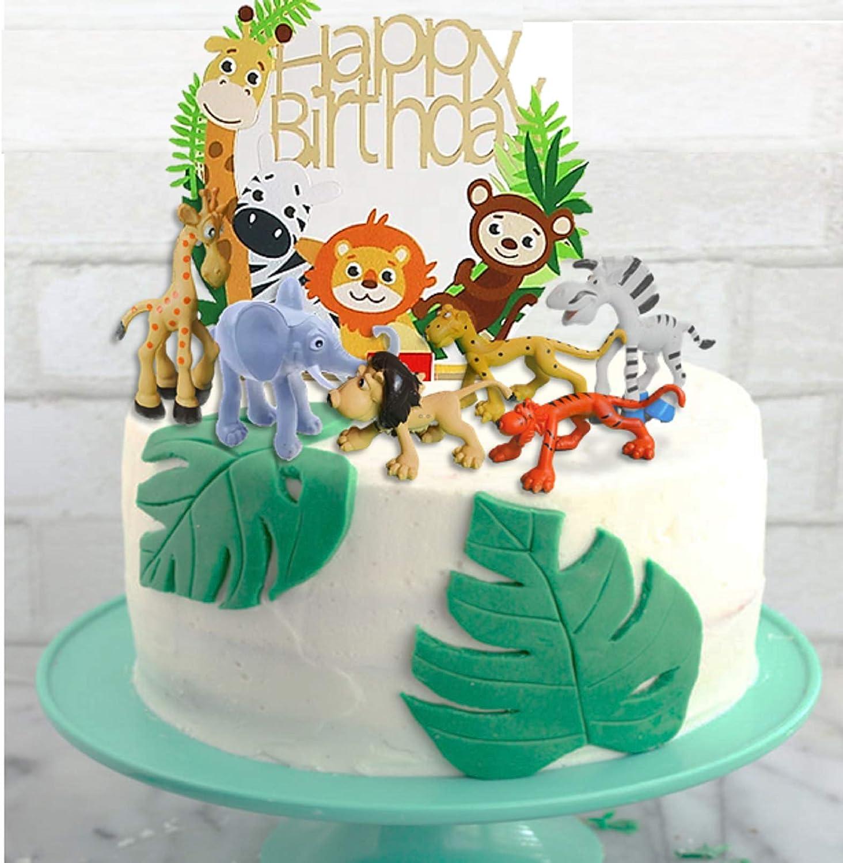 Excel9 7 PCS JUNGLE ANIMALS THEME CAKE DECORATIONS KIT
