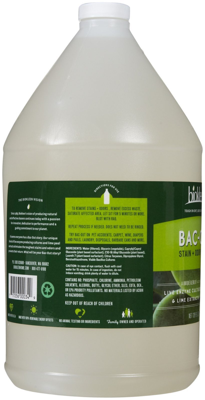 Biokleen Bac-Out Stain+Odor Remover, Destroys Stains & Odors Safely, for Pet Stains, Laundry, Diapers, Wine, Carpets, & More, Eco-Friendly, Non-Toxic, Plant-Based, 128 Ounces by Biokleen (Image #2)