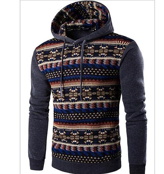 Sudaderas con capucha para hombre Hombre Marca con capucha Moda estampado geométrico sudadera con capucha para hombre Slim Fit con capucha: Amazon.es: Ropa ...