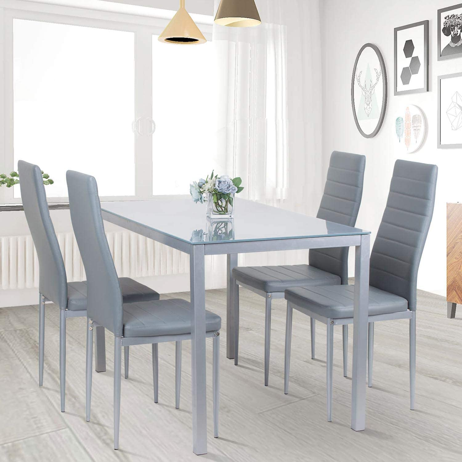 jeffordoutlet Dining Table and Chairs Set of 10 Chairs, Modern Home Kitchen  Living Room Furniture
