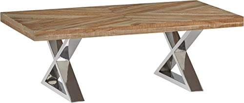 Amazon Brand Stone Beam Hanford Contemporary Coffee Table, 48 W, Reclaimed Hardwood and Chrome