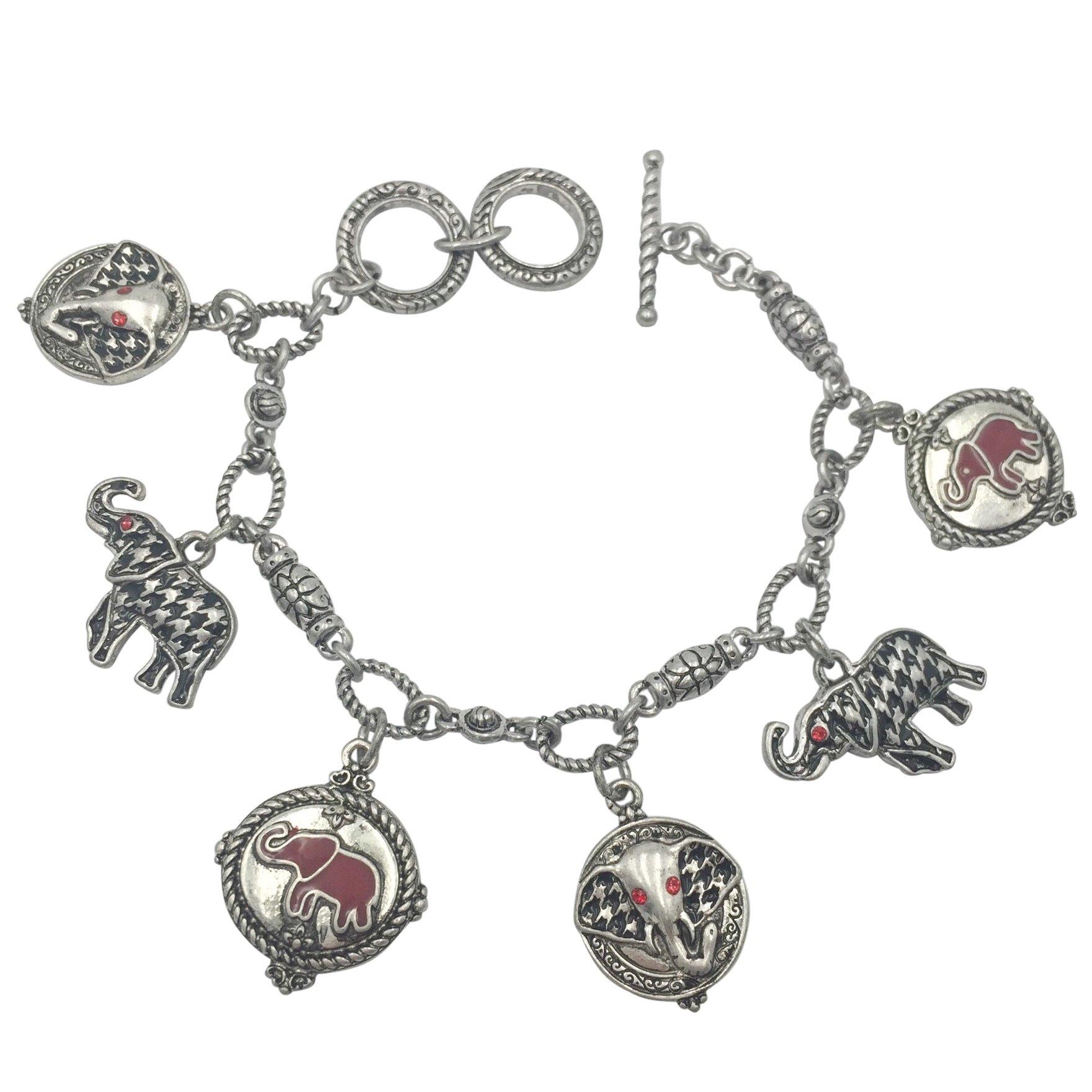 Houndstooth & Red Elephant Charm Bracelet Alabama Roll Tide Pride (Silver Tone)