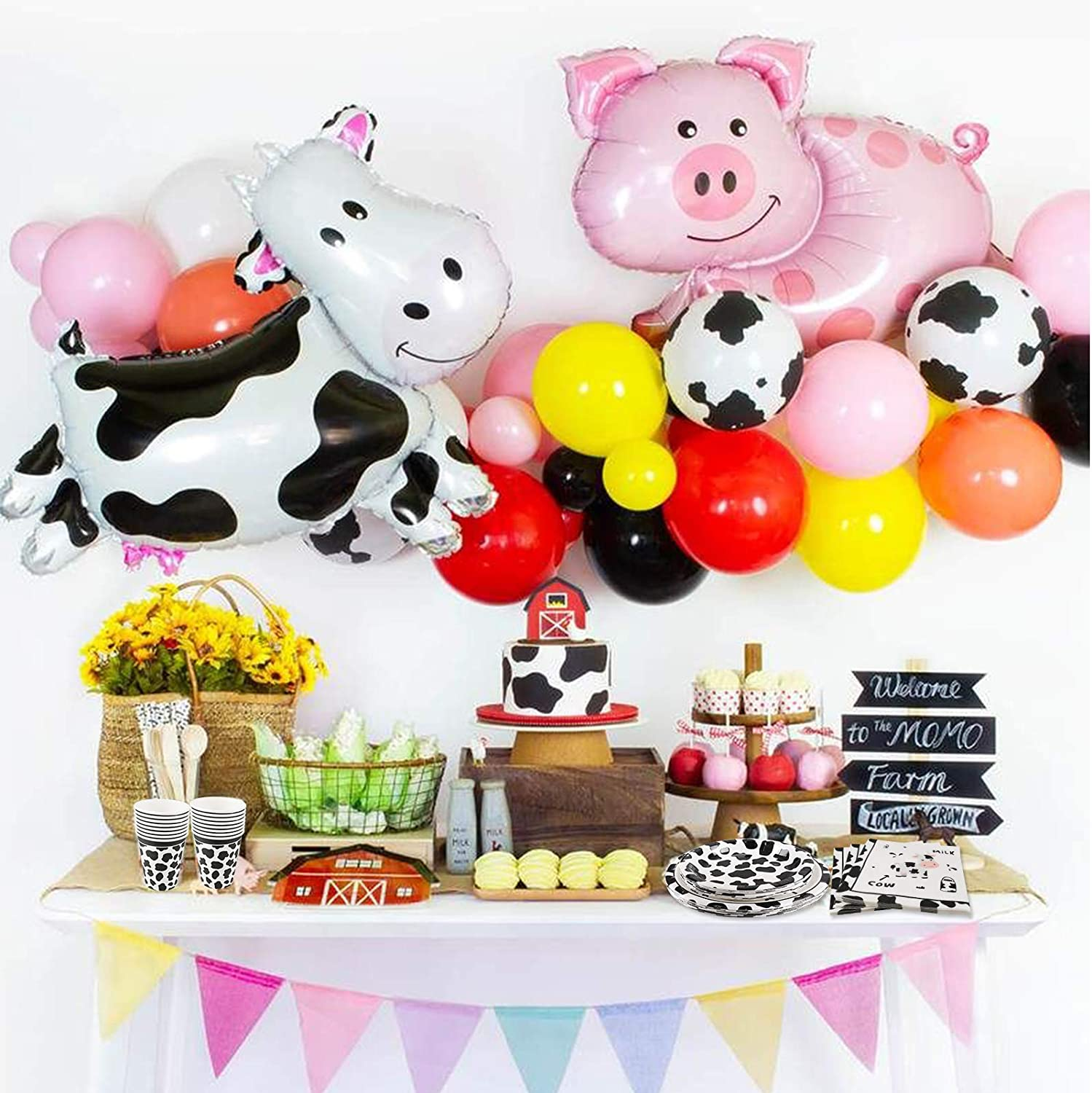 Cups for Western and Farm Animal Cow Theme Baby Shower Birthday Party Decorations Dessert Plates Cieovo Cow Print Party Supplies Set for 16 Guests Including Black and White Cow Print Dinner Plates Lunch Napkins