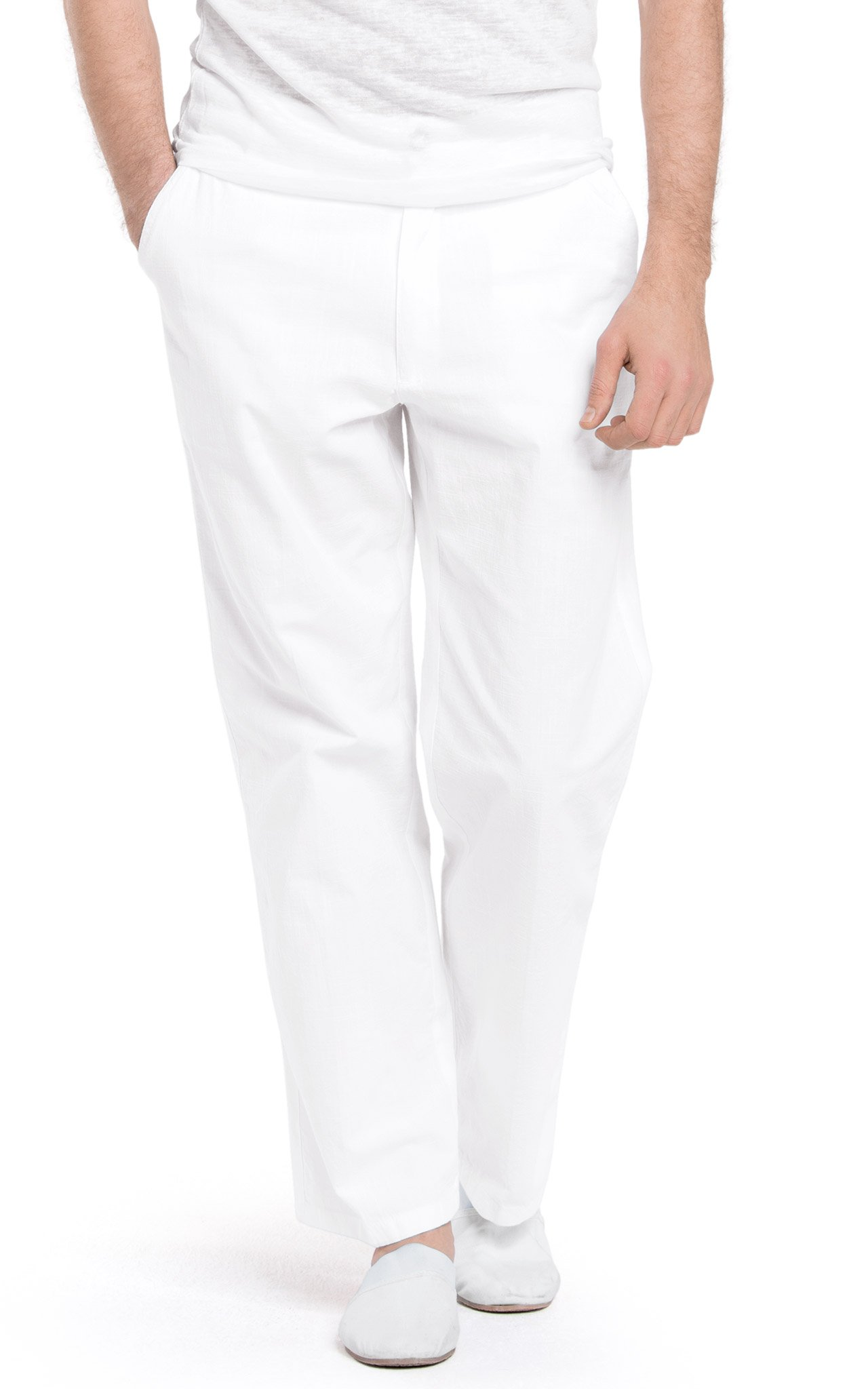 White by Nature Men's Relaxed Casual Cotton Beach Pants XL