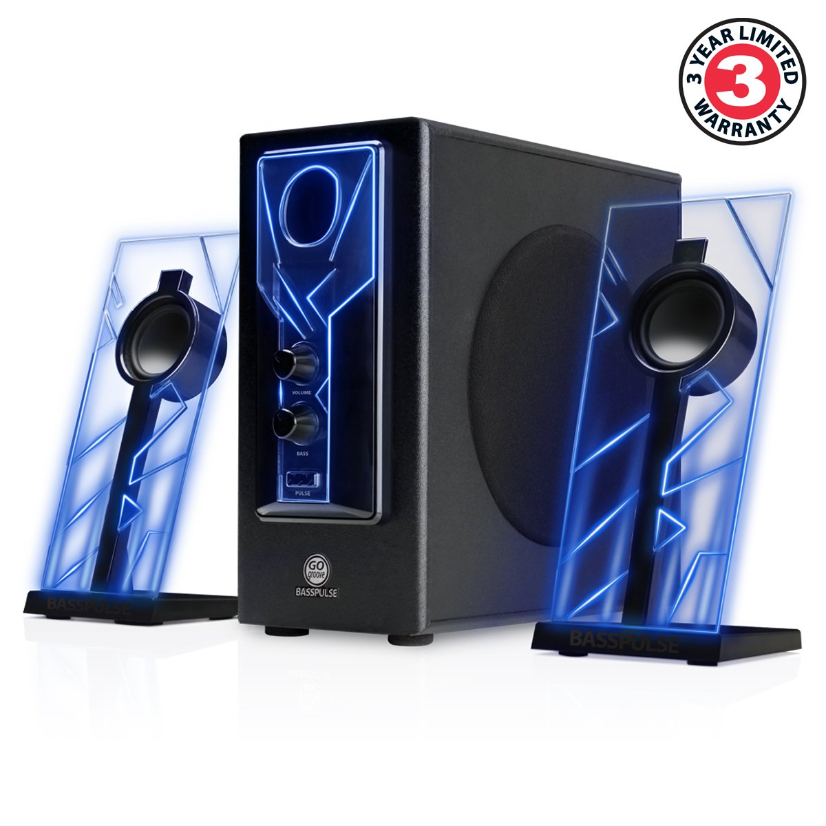 GOgroove BassPULSE 2.1 Computer Speakers with Blue LED Glow Lights and Powered Subwoofer - Gaming Speaker System for Music on Desktop, Laptop, PC with 40 Watts, Heavy Bass by GOgroove (Image #3)