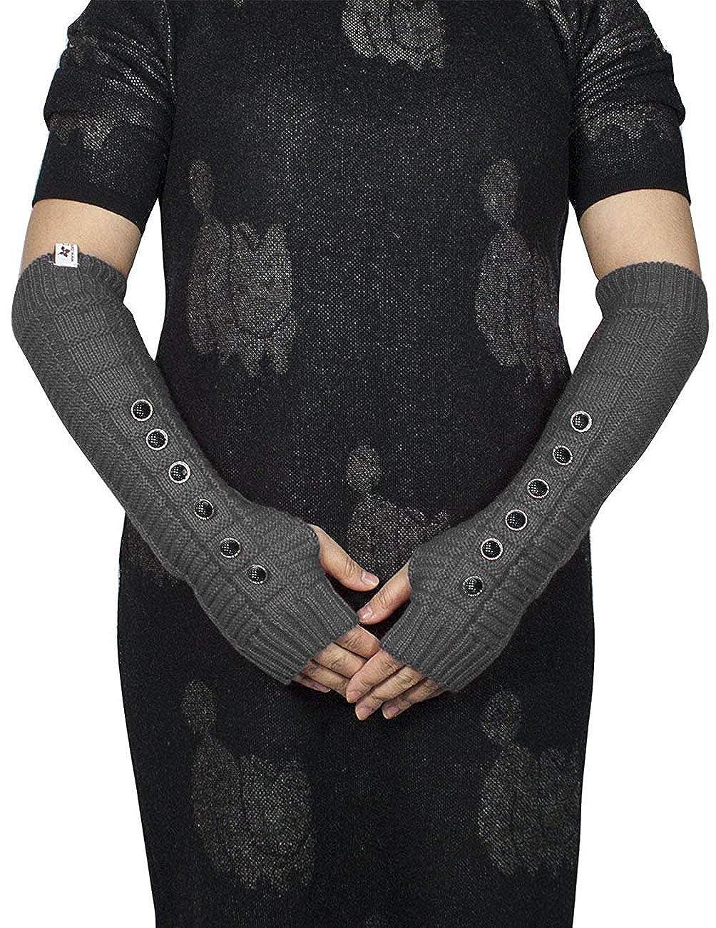 and Arm Warmers Hand /& Wrist Warmer Adjustable Dark Gray GL0028ACW-DG Dahlia Womens Knit Fingerless Gloves; Hand Wrist