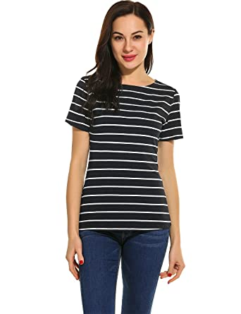 d1d9002cef POGTMM Women Black and White Striped Short Sleeve T-Shirt Tops Slim Fit  Stripes Tee