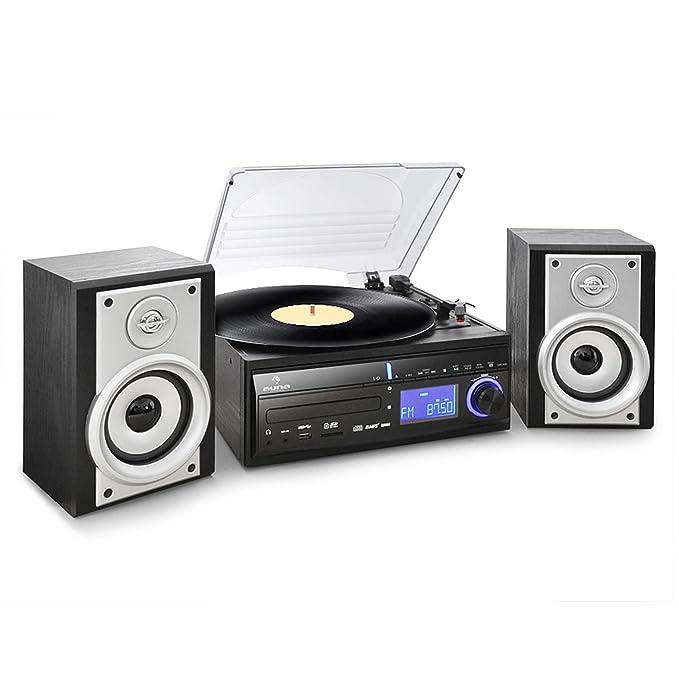 Auna MG-DS28 - Tocadiscos para Equipo de Audio, Negro y Plateado