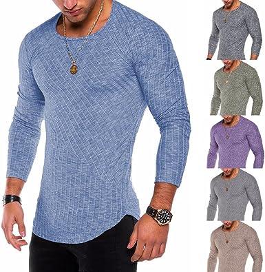 WINWINTOM Moda de Verano Camisetas, 2020 Hombre Camisetas y Polos, Moda Hombres Ajustado O-Cuello Manga Larga Músculo Camiseta Casual Tops Blusa: Amazon.es: Ropa y accesorios