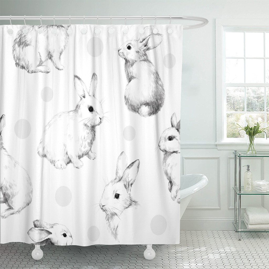 Amazon com tompop shower curtain gray drawing rabbits collage cute fuzzy pattern pencil sketch waterproof polyester fabric 72 x 72 inches set with hooks