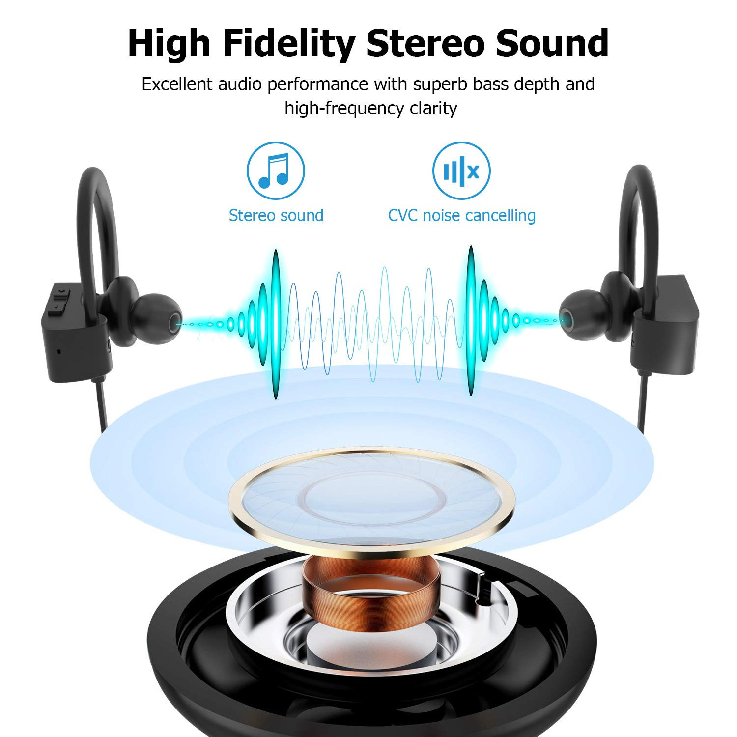 Bluetooth Headphones, LETSCOM Wireless Earbuds IPX7 Waterproof Noise Cancelling Headsets, Richer Bass & HiFi Stereo Sports Earphones 8 Hours Playtime Running Headphones with Travel Case by LETSCOM (Image #2)