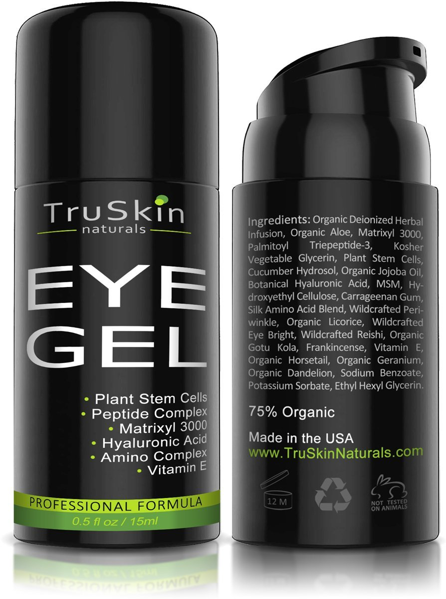 Best Eye Gel for Wrinkles, Fine Lines, Dark Circles, Puffiness & Bags - 100% Natural, 75% ORGANIC, With Hyaluronic Acid, Jojoba Oil, MSM, Peptides & More - Refreshing Eye Cream Alternative