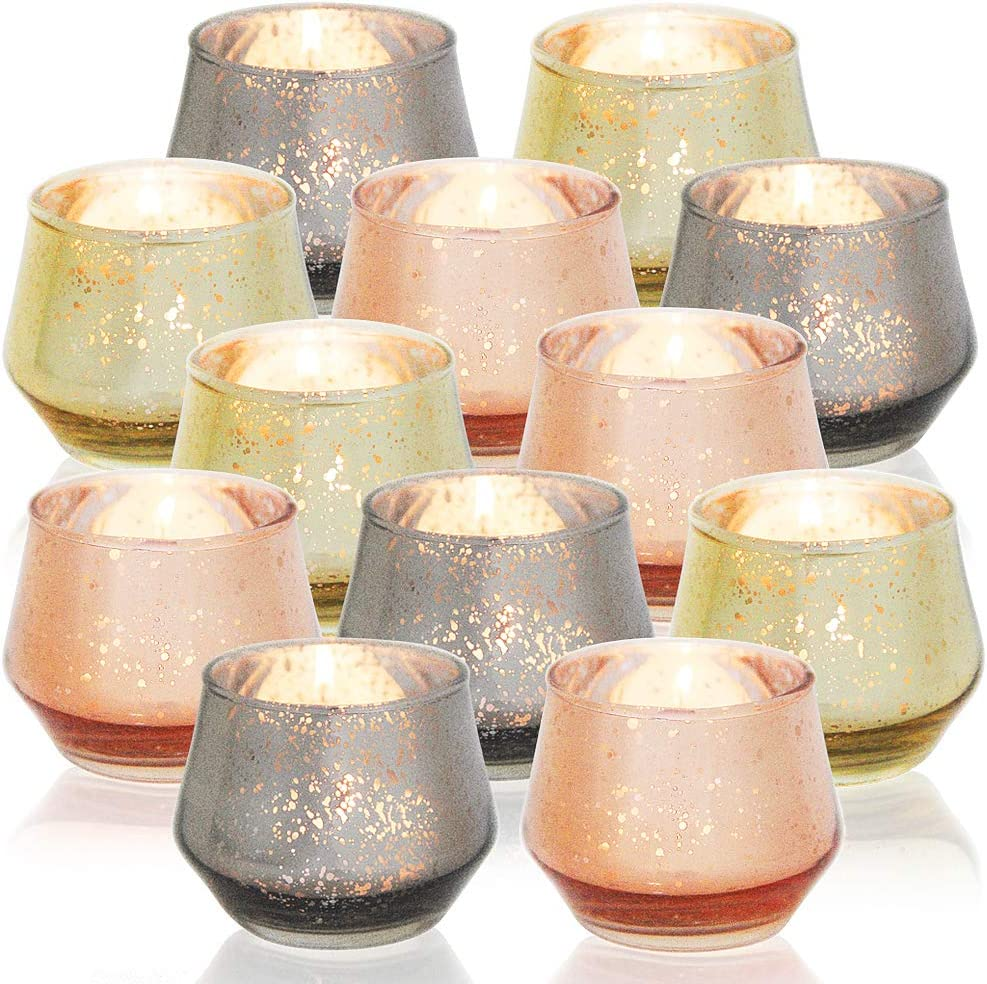 DerBlue 12Pcs Mercury Glass Votive Candle Holders for Wedding Centerpieces, Valentines Dinner, Garden Tub and Any Theme Events(Champagne Gold&Rose Gold&Smoky Grey)