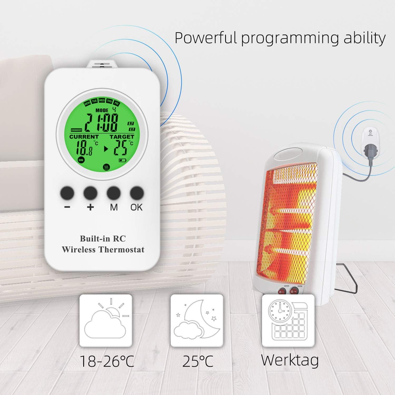 Thermostat sans fil NASHONE avec prise contr/ôl/ée de la temp/érature avec mode chauffage et refroidissement 3250 W. t/él/écommande capteur de temp/érature int/égr/é