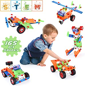 LUKAT STEM Toys for Kids, 165 Piece Educational Construction Building Toys Set for Ages 7, 8, 9+ Years Old Boys & Girls, Best Kids Gift Toys