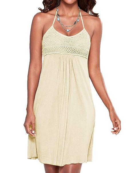 70c1aafb68 Women s Bathing Suit Cover Up Halter Backless Lace Crochet Beach Bkini Swimwear  Dress Apricot Small