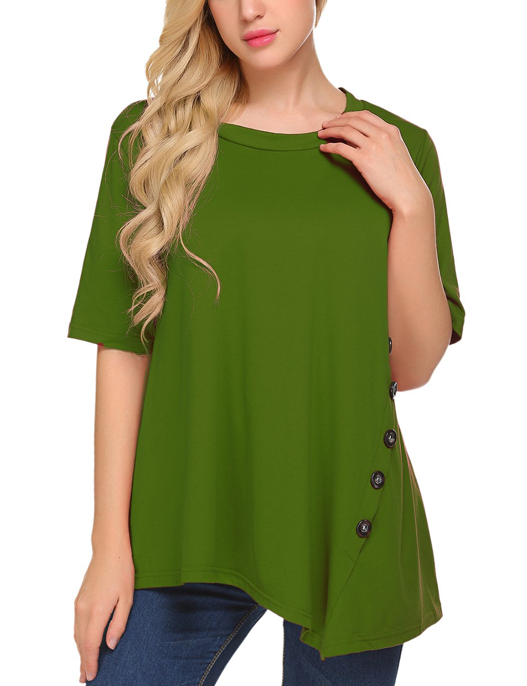 Sweetnight Women's Casual O-Neck Short Sleeve Solid Asymmetrical Pleated T-Shirt Blouse Top Plus Size (XL, Green)