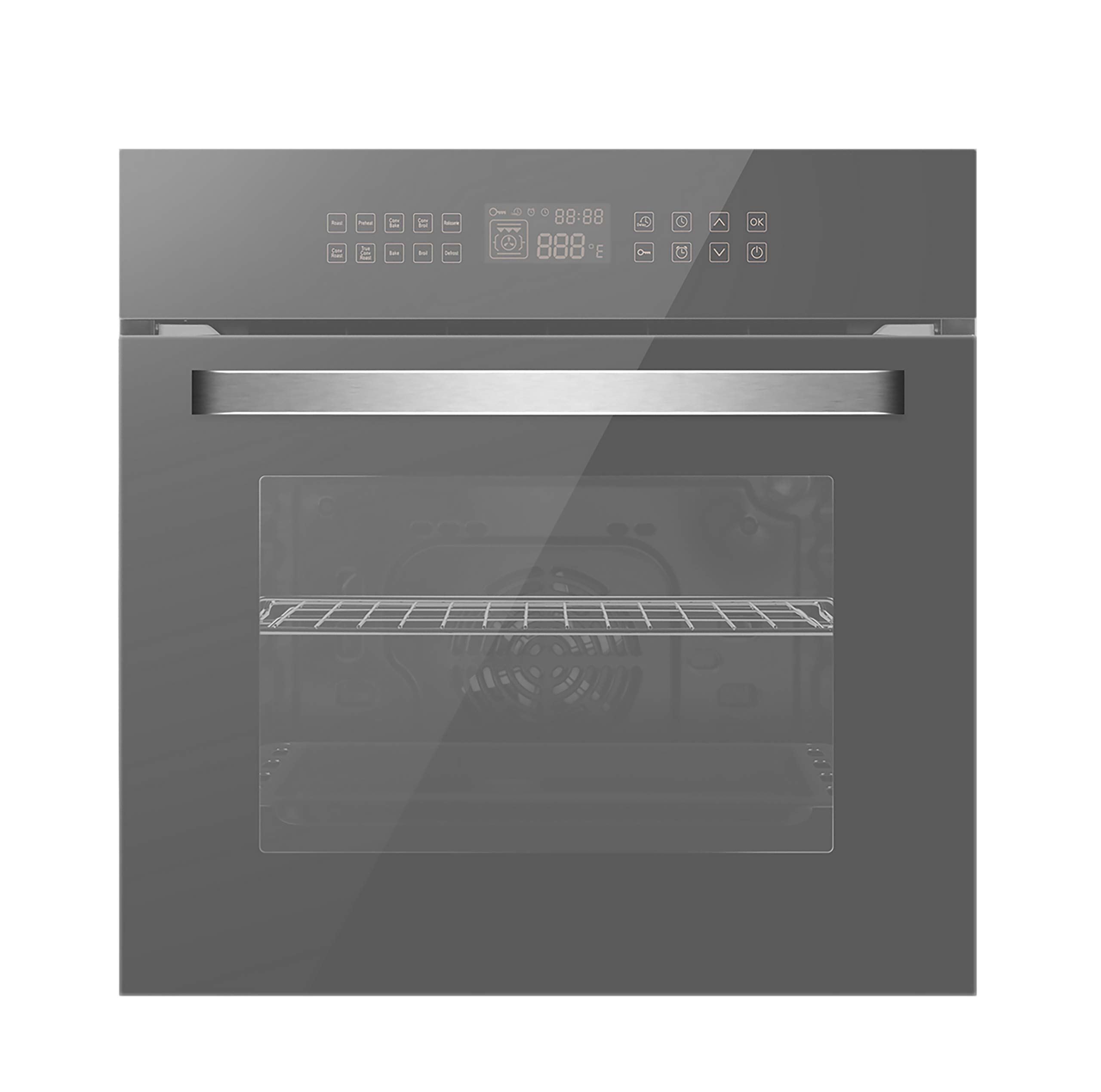 Empava KQB65C-17-220V Electric Convection Single Wall Oven 10 Cooking Functions Deluxe 360° ROTISSERIE with Sensitive Touch Control in Silver Mirror Glass 24 Inch, WOB17 by Empava