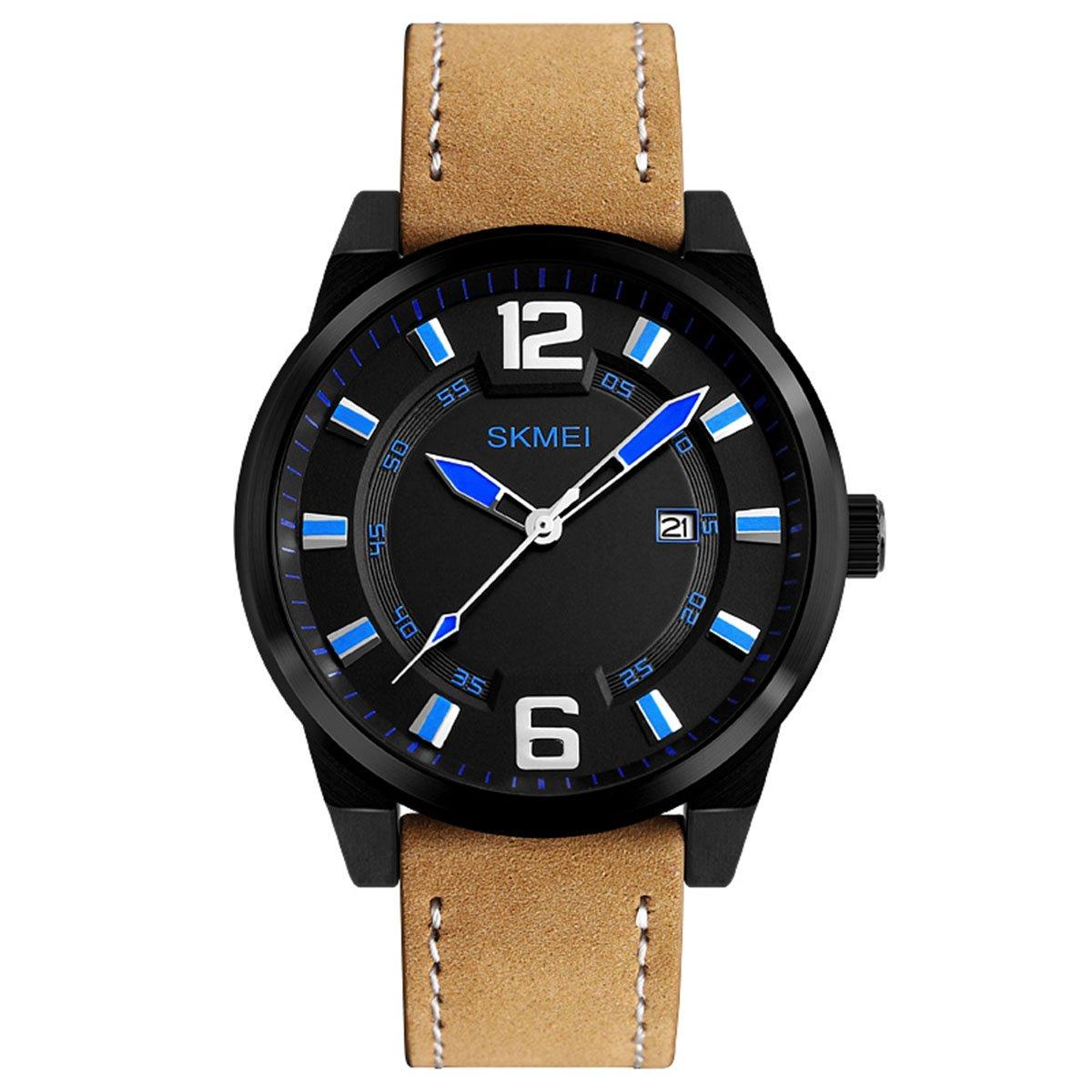 únicos marcadores azules de cuarzo analógico reloj de los hombres frescos grandes  números arábigos gran reloj de moda dial negro  Amazon.es  Relojes de4055a22af0