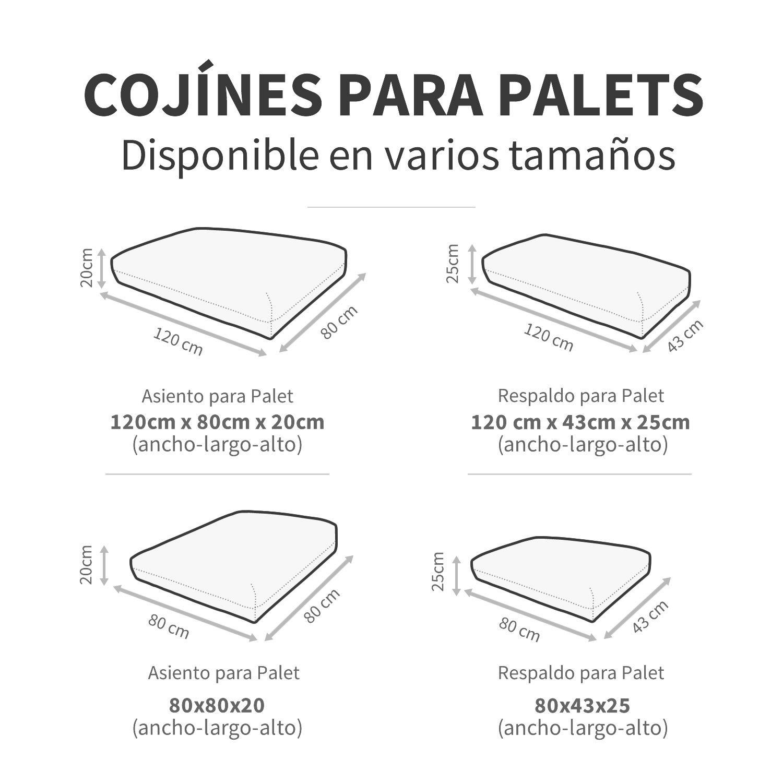 Happers Cojines para Palets 80x43 cm (tamaños para europalet) enfundados con Tejido para Exterior Naylim en Color Turquesa, 80x43x25 cm