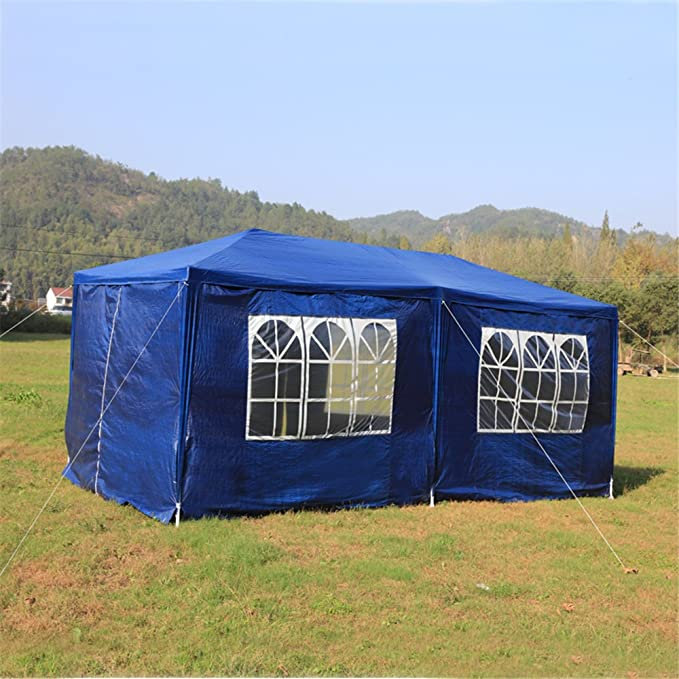 4 finestre 2 Porte con Cerniera MCTECH/® 3 x 6 m Blu Tenda Esterno Tenda da Giardino Padiglione Tenda Birra Tenda Gazebo Copertura PE impermeabilecon 6 pareti Laterali